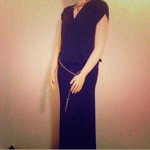 V Neck Chain Shirt and Maxi Skirt Black